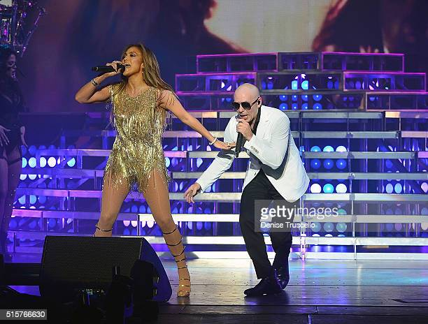 Jennifer Lopez and Pitbull perform during Pitbull Time of Our Lives Las Vegas opening at the AXIS at Planet Hollywood Resort Casino in Las Vegas on...