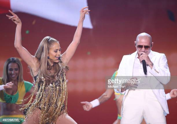 Jennifer Lopez and Pitbull perform onstage during the 2014 Billboard Music Awards held at MGM Grand Garden Arena on May 18 2014 in Las Vegas Nevada