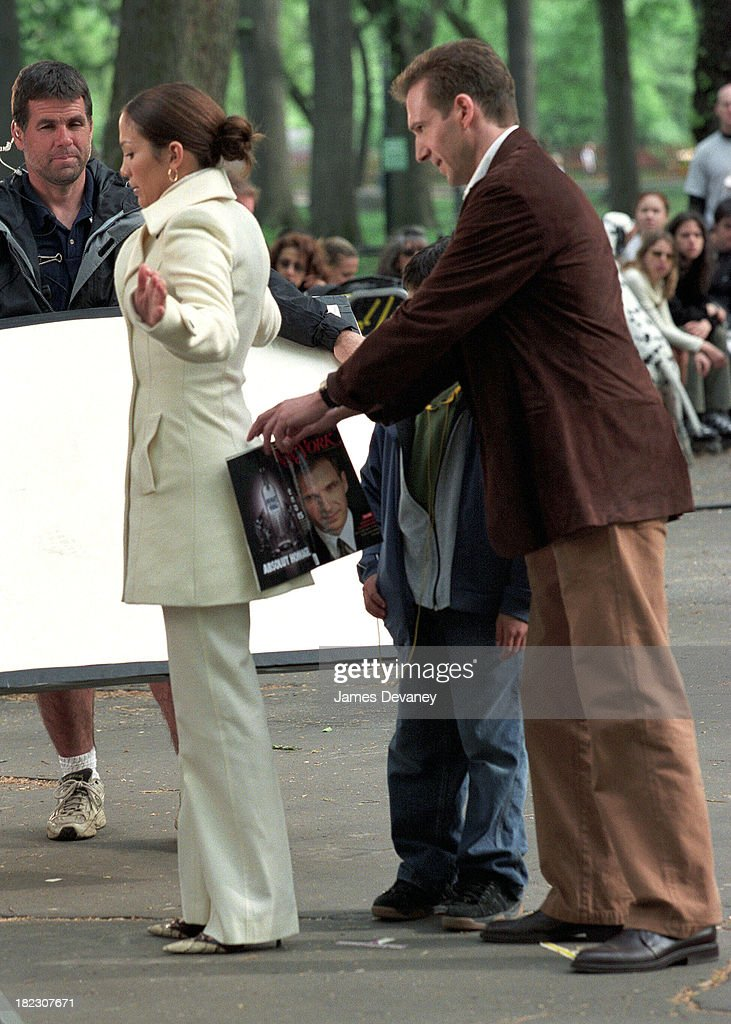 Jennifer Lopez and Ralph Fiennes during Jennifer Lopez on Location for Maid in Manhattan at Streets of New York City in New York City, New York, United States.