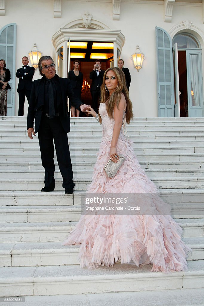 Jennifer Lopez and Roberto Cavalli attends the '2010 amfAR's Cinema Against AIDS Gala'