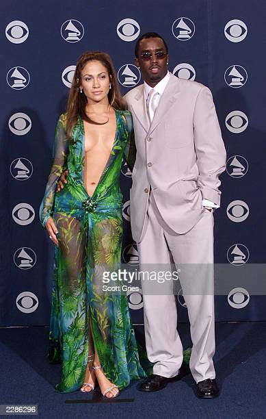 Jennifer Lopez and Sean Puffy Combs at the 2000 Grammy Awards in Los Angeles
