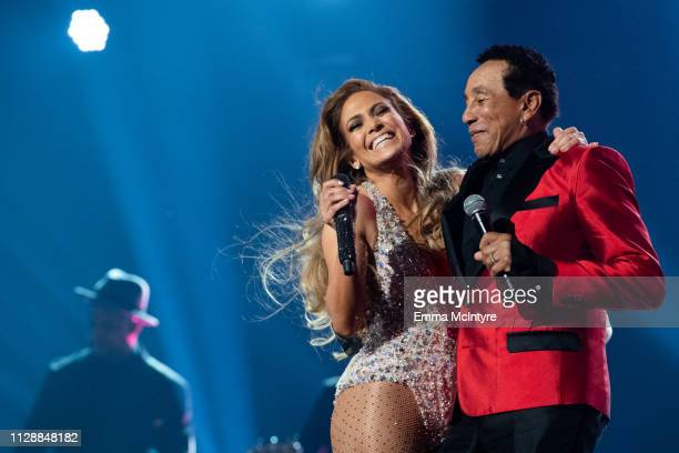 Jennifer Lopez and Smokey Robinson perform onstage at the 61st annual GRAMMY Awards at Staples Center on February 10 2019 in Los Angeles California