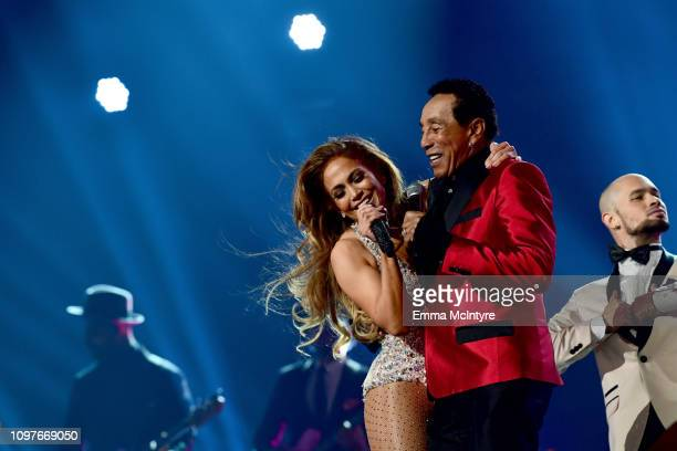 Jennifer Lopez and Smokey Robinson perform onstage during the 61st Annual GRAMMY Awards at Staples Center on February 10 2019 in Los Angeles...