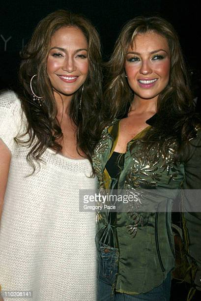 Jennifer Lopez and Thalia during Olympus Fashion Week Spring 2005 Tommy Hilfiger Front Row and Backstage at Theater Tent Bryant Park in New York City...