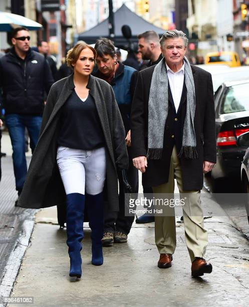 Jennifer Lopez and Treat Williams are seen on the movie set of the 'Second Act on December 5 2017 in New York City
