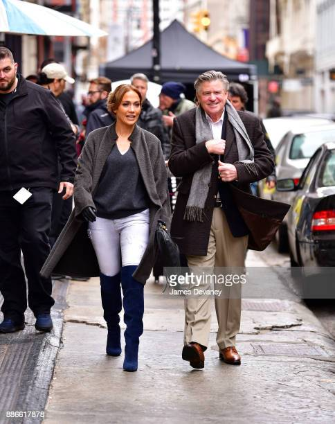 Jennifer Lopez and Treat Williams seen on location for 'Second Act' in SoHo on December 5 2017 in New York City