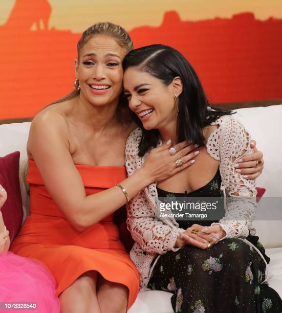 Jennifer Lopez and Vanessa Hudgens are seen on the set of 'Despierta America' at Univision Studios to promote the film 'Second Act' on December 14...