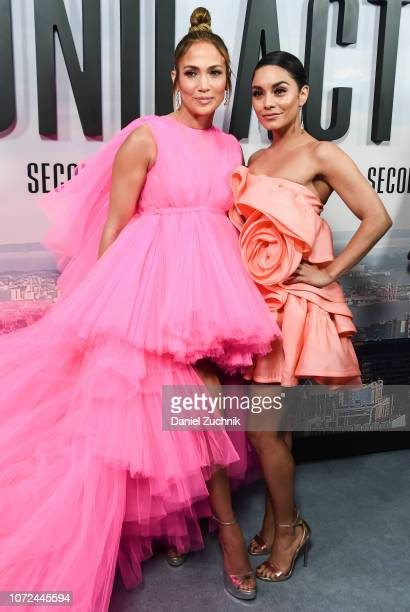 Jennifer Lopez and Vanessa Hudgens attend the 'Second Act' World Premiere at Regal Union Square Theatre Stadium 14 on December 12 2018 in New York...
