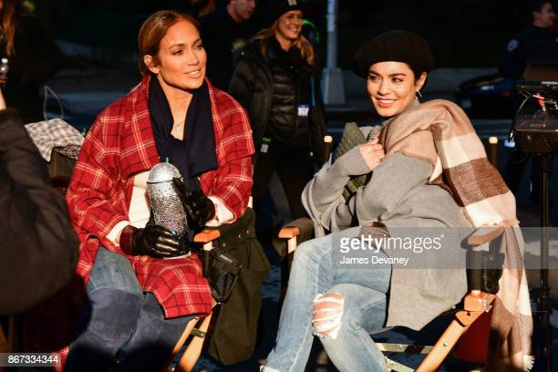 Jennifer Lopez and Vanessa Hudgens seen on location for 'Second Act' in Queens on October 27 2017 in New York City