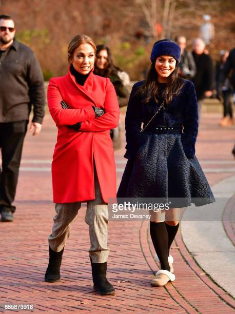 Jennifer Lopez and Vanessa Hudgens seen on location for 'Second Act' in Central Park on December 4 2017 in New York City