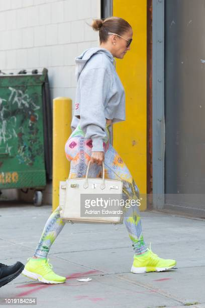 Jennifer Lopez arrives at a studio on August 14 2018 in New York City