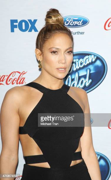 Jennifer Lopez arrives at Fox's American Idol XIII finalists party held at Fig Olive Melrose Place on February 20 2014 in West Hollywood California