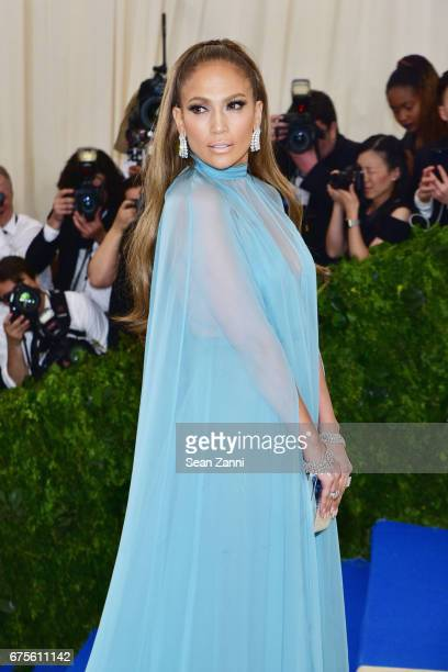 Jennifer Lopez arrives at 'Rei Kawakubo/Comme des Garcons Art Of The InBetween' Costume Institute Gala at The Metropolitan Museum on May 1 2017 in...