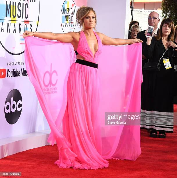 Jennifer Lopez arrives at the 2018 American Music Awards at Microsoft Theater on October 9 2018 in Los Angeles California