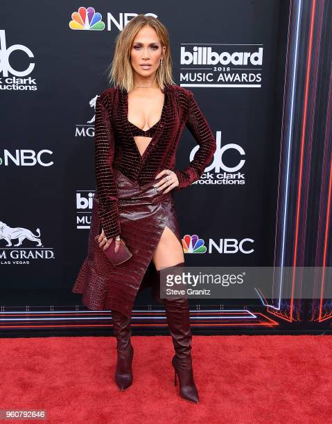 Jennifer Lopez arrives at the 2018 Billboard Music Awards at MGM Grand Garden Arena on May 20 2018 in Las Vegas Nevada