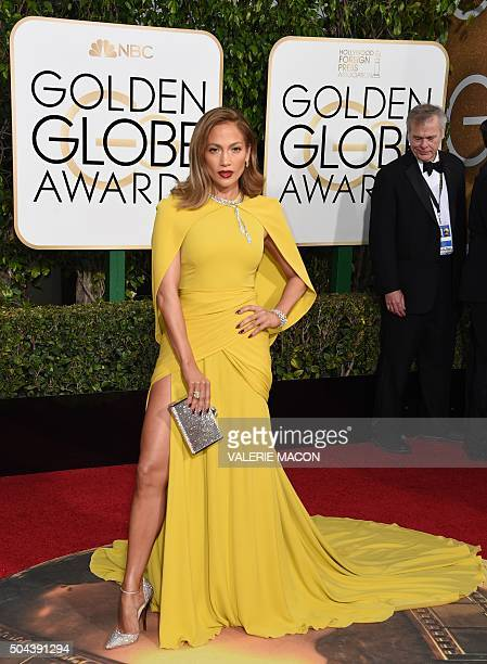 Jennifer Lopez arrives at the 73nd annual Golden Globe Awards January 10 at the Beverly Hilton Hotel in Beverly Hills California AFP PHOTO / VALERIE...
