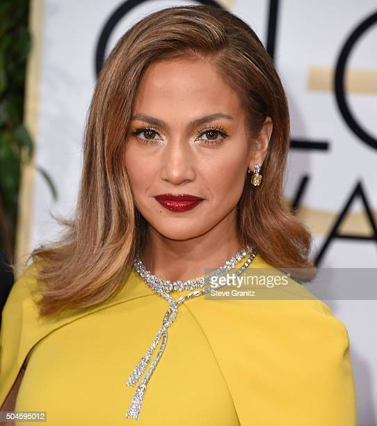 Jennifer Lopez arrives at the 73rd Annual Golden Globe Awards at The Beverly Hilton Hotel on January 10 2016 in Beverly Hills California