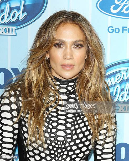 """Jennifer Lopez arrives at the """"American Idol"""" XIII season premiere event held at Royce Hall, UCLA on January 14, 2014 in Westwood, California."""
