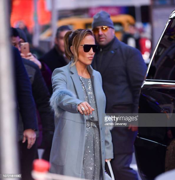 Jennifer Lopez arrives to ABC's 'Good Morning America' in Times Square on December 12 2018 in New York City