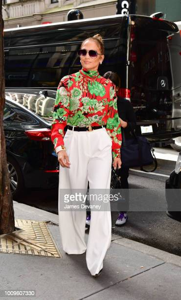Jennifer Lopez arrives to NBC Studios at Rockefeller Center on August 2 2018 in New York City