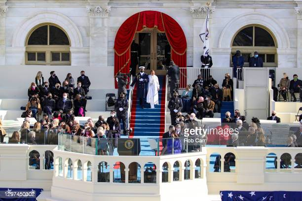 Jennifer Lopez arrives to sing during the inauguration of U.S. President-elect Joe Biden on the West Front of the U.S. Capitol on January 20, 2021 in...