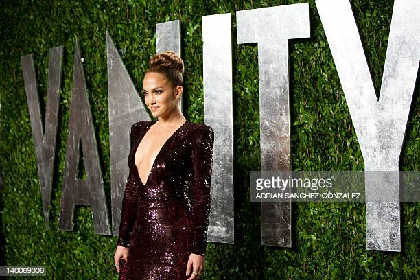 Jennifer Lopez arrives to the Vanity Fair Oscar Party for the 84th Annual Academy Awards at the Sunset Tower on February 26 2012 in West Hollywood...