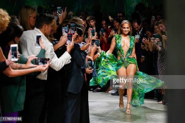 Jennifer Lopez at the Versace show during the Milan Fashion Week Spring/Summer 2020 on September 20 2019 in Milan Italy