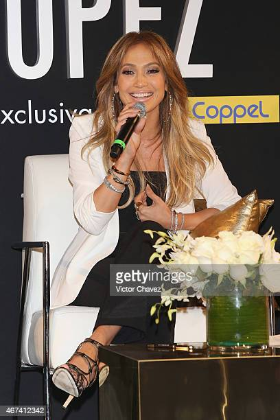Jennifer Lopez attends a press conference to promote her collection launch with Coppel stores at St. Regis hotel on March 23, 2015 in Mexico City,...