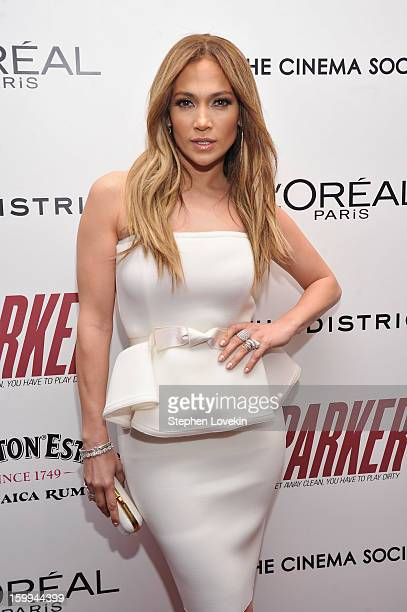 Jennifer Lopez attends a screening of 'Parker' hosted by FilmDistrict The Cinema Society L'Oreal Paris and Appleton Estate at MOMA on January 23 2013...