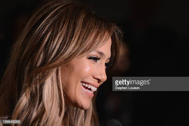 Jennifer Lopez attends a screening of Parker hosted by FilmDistrict The Cinema Society L'Oreal Paris and Appleton Estate at MOMA on January 23 2013...