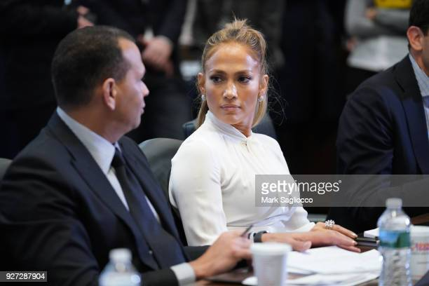 Jennifer Lopez attends 'Project Destined' Yankees Shark Tank Presentations at Yankee Stadium on March 4 2018 in New York City
