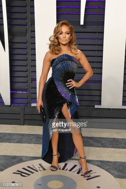 Jennifer Lopez attends the 2019 Vanity Fair Oscar Party hosted by Radhika Jones at Wallis Annenberg Center for the Performing Arts on February 24...