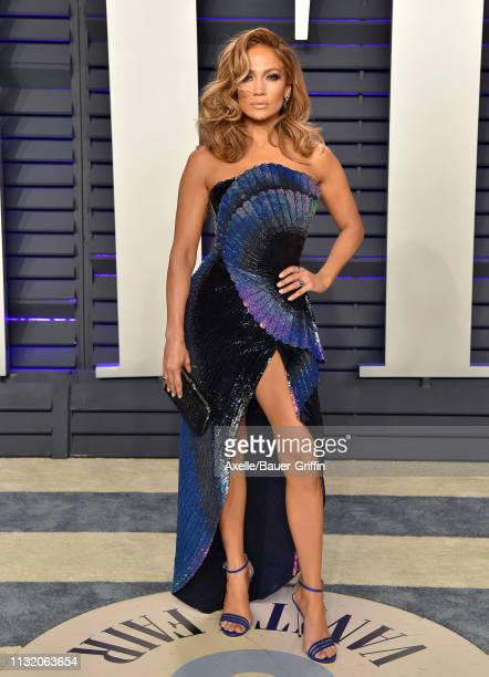Jennifer Lopez attends the 2019 Vanity Fair Oscar Party Hosted By Radhika Jones at Wallis Annenberg Center for the Performing Arts on February 24,...