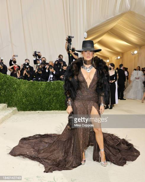Jennifer Lopez attends The 2021 Met Gala Celebrating In America: A Lexicon Of Fashion at Metropolitan Museum of Art on September 13, 2021 in New York...