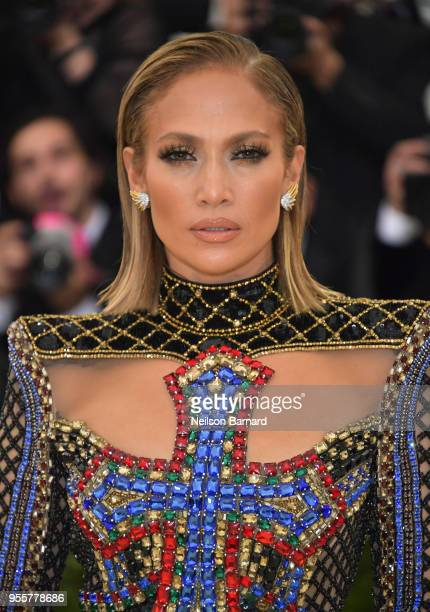Jennifer Lopez attends the Heavenly Bodies Fashion The Catholic Imagination Costume Institute Gala at The Metropolitan Museum of Art on May 7 2018 in...
