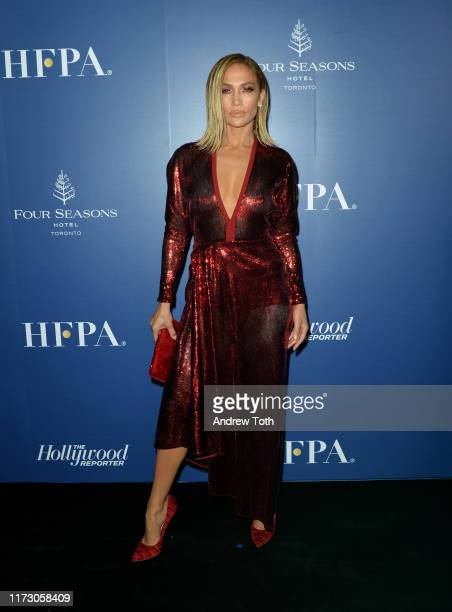 Jennifer Lopez attends The Hollywood Foreign Press Association and The Hollywood Reporter party at the 2019 Toronto International Film Festival at...
