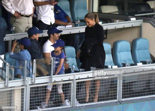 Jennifer Lopez attends The Los Angeles Dodgers Game Opening Day at Dodger Stadium on March 29 2018 in Los Angeles California