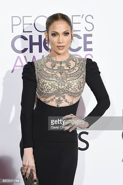 Jennifer Lopez attends the People's Choice Awards 2017 Arrivals at Microsoft Theater on January 18 2017 in Los Angeles California