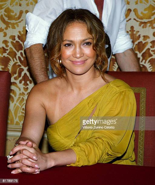 Jennifer Lopez attends the press conference where Marc Anthony received the Honorary Award from Milan Town Council held at Palazzo Marino on July 01...