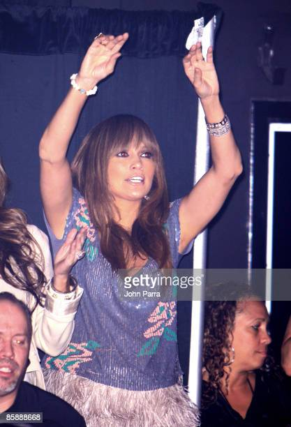 Jennifer Lopez backstage dancing while she watches her husband Marc Anthony perform at Seminole Hard Rock Hotel and Casino on April 9, 2009 in...