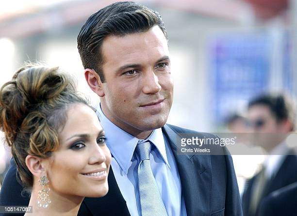 """Jennifer Lopez & Ben Affleck during """"Gigli"""" California Premiere at Mann National in Westwood, California, United States."""