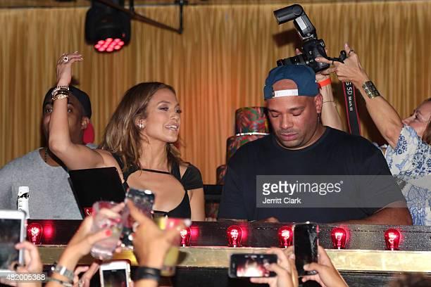 Jennifer Lopez celebrates her Birthday in the DJ booth with DJ Mel DeBarge at 1OAK Southampton on July 25 2015 in Southampton City