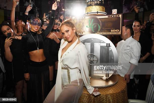 Jennifer Lopez celebrates release of new single 'Dinero' during sneak peek of new Spago at Bellagio on May 20 2018 in Las Vegas Nevada