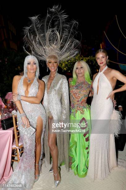 Jennifer Lopez Celine Dion Donatella Versace and Rosie HuntingtonWhiteley attend The 2019 Met Gala Celebrating Camp Notes on Fashion at Metropolitan...