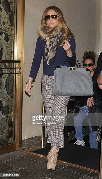 Jennifer Lopez checks out of her hotel on February 1, 2012 in New York City.
