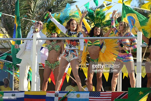 Jennifer Lopez Claudia Leitte and Pitbull are seen in Fort Lauderdale as they film a music video for the song 'We Are One' which will be the theme...
