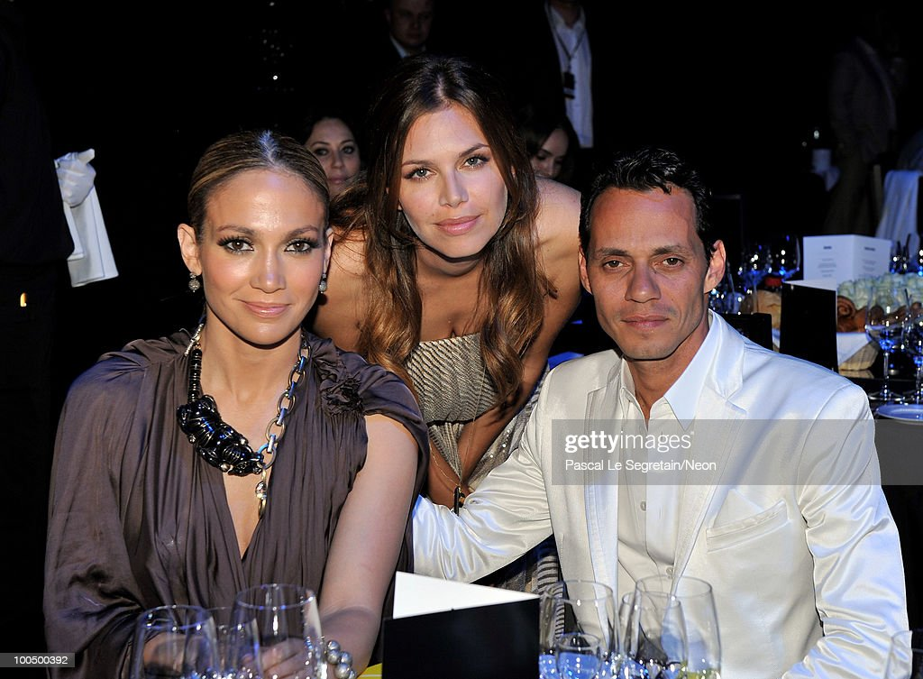 Jennifer Lopez, Dasha Zhukova and Marc Anthony attend the NEON Charity Gala in aid of the IRIS Foundation at the Capital City on May 24, 2010 in Moscow, Russia.