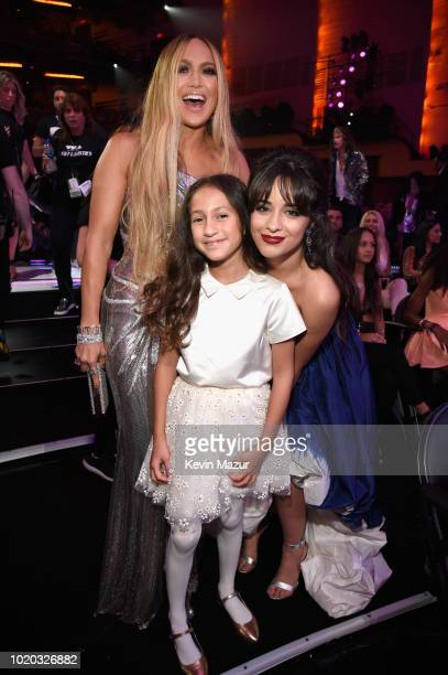 Jennifer Lopez daughter Emme and Camila Cabello pose during the 2018 MTV Video Music Awards at Radio City Music Hall on August 20 2018 in New York...
