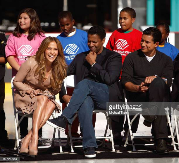 Jennifer Lopez Denzel Washington and Mario Lopez attend the Boys And Girls Clubs of America announcement held at Nokia Theatre LA Live on November 30...