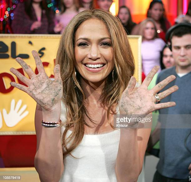 "Jennifer Lopez during Jennifer Lopez Visits MTV's ""TRL"" - March 1, 2005 at MTV Studios, Times Square in New York City, New York, United States."
